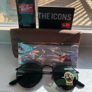 Ray-Ban sunglasses round metal black 002 size 50mm